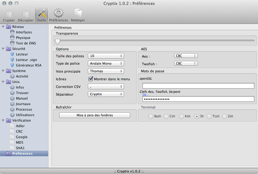 Cryptix 1.0.2 preferences